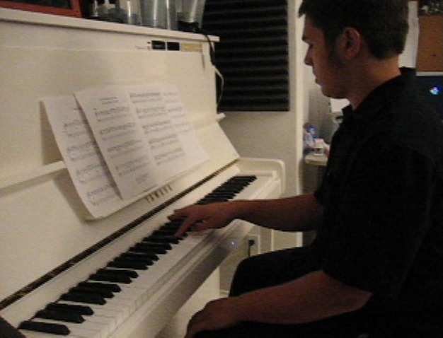 Student Joel Hill at a jazz piano lesson