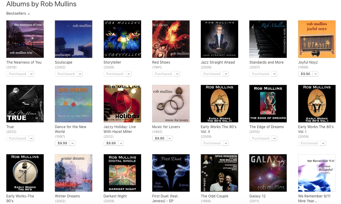 Rob Mullins Official Discography-by Rob Mullins himself